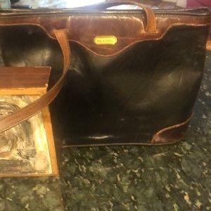 BRAHMIN Vintage Black beauty Brown trim